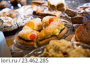 Купить «Cookies, cakes and other confectionary in cafe», фото № 23462285, снято 24 октября 2018 г. (c) Яков Филимонов / Фотобанк Лори