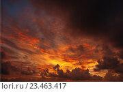 Купить «Зловещий закат, солнце едва пробивается сквозь тучи», фото № 23463417, снято 4 апреля 2020 г. (c) Александр Романов / Фотобанк Лори