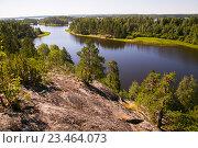 Купить «Панорамный вид на Ладогу со скалы», фото № 23464073, снято 11 июля 2016 г. (c) Сергей Александров / Фотобанк Лори