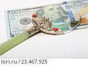 Купить «Лупа лежит на купюре 100 долларов», эксклюзивное фото № 23467925, снято 3 сентября 2016 г. (c) Яна Королёва / Фотобанк Лори