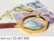 Купить «Лупа лежит на китайских юанях», эксклюзивное фото № 23467989, снято 3 сентября 2016 г. (c) Яна Королёва / Фотобанк Лори