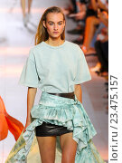 Купить «MILAN, ITALY - SEPTEMBER 26: A model walks the runway during the Roberto Cavalli fashion show as part of Milan Fashion Week Spring/Summer 2016 on September 26, 2015 in Milan, Italy.», фото № 23475157, снято 26 сентября 2015 г. (c) Anton Oparin / Фотобанк Лори