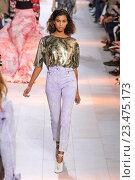 Купить «MILAN, ITALY - SEPTEMBER 26: A model walks the runway during the Roberto Cavalli fashion show as part of Milan Fashion Week Spring/Summer 2016 on September 26, 2015 in Milan, Italy.», фото № 23475173, снято 26 сентября 2015 г. (c) Anton Oparin / Фотобанк Лори
