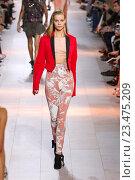 Купить «MILAN, ITALY - SEPTEMBER 26: A model walks the runway during the Roberto Cavalli fashion show as part of Milan Fashion Week Spring/Summer 2016 on September 26, 2015 in Milan, Italy.», фото № 23475209, снято 26 сентября 2015 г. (c) Anton Oparin / Фотобанк Лори