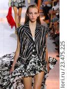 Купить «MILAN, ITALY - SEPTEMBER 26: A model walks the runway during the Roberto Cavalli fashion show as part of Milan Fashion Week Spring/Summer 2016 on September 26, 2015 in Milan, Italy.», фото № 23475225, снято 26 сентября 2015 г. (c) Anton Oparin / Фотобанк Лори