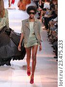 Купить «MILAN, ITALY - SEPTEMBER 26: A model walks the runway during the Roberto Cavalli fashion show as part of Milan Fashion Week Spring/Summer 2016 on September 26, 2015 in Milan, Italy.», фото № 23475233, снято 26 сентября 2015 г. (c) Anton Oparin / Фотобанк Лори