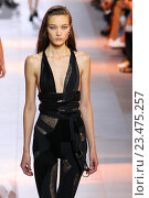 Купить «MILAN, ITALY - SEPTEMBER 26: A model walks the runway during the Roberto Cavalli fashion show as part of Milan Fashion Week Spring/Summer 2016 on September 26, 2015 in Milan, Italy.», фото № 23475257, снято 26 сентября 2015 г. (c) Anton Oparin / Фотобанк Лори