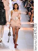 Купить «MILAN, ITALY - SEPTEMBER 26: A model walks the runway during the Roberto Cavalli fashion show as part of Milan Fashion Week Spring/Summer 2016 on September 26, 2015 in Milan, Italy.», фото № 23475273, снято 26 сентября 2015 г. (c) Anton Oparin / Фотобанк Лори