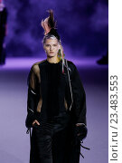 PARIS, FRANCE - OCTOBER 03: A model walks the runway during the Haider Ackermann show as part of the Paris Fashion Week Womenswear Spring/Summer 2016 on October 3, 2015 in Paris, France. Редакционное фото, фотограф Anton Oparin / Фотобанк Лори