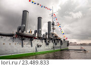 The legendary revolutionary cruiser Aurora at the place of eternal parking on the Petrograd embankment (2016 год). Редакционное фото, фотограф FotograFF / Фотобанк Лори