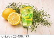 Стакан домашнего лимонада с тархуном и лимоном. Стоковое фото, фотограф Антон Стариков / Фотобанк Лори