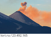 Выбросы пепла от вулкана Ключевская сопка на закате. Стоковое фото, фотограф Юлия Машкова / Фотобанк Лори