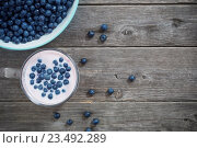 Купить «blueberries on a wooden background, top view, horizontal», фото № 23492289, снято 5 июля 2016 г. (c) Майя Крученкова / Фотобанк Лори
