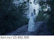 Купить «ghost on background old house», фото № 23492305, снято 16 июля 2016 г. (c) Майя Крученкова / Фотобанк Лори