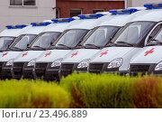 Новые автомобили скорой помощи стоят в ряд. Стоковое фото, фотограф Mark Agnor / Фотобанк Лори