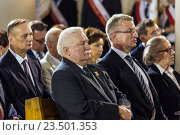 Poznan, Poland, Lech Walesa, former President of Poland, at a Mass on the 60th anniversary of the Poznan workers' rebellion (2016 год). Редакционное фото, агентство Caro Photoagency / Фотобанк Лори