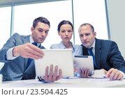 Купить «business team with tablet pc having discussion», фото № 23504425, снято 9 ноября 2013 г. (c) Syda Productions / Фотобанк Лори