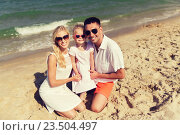 Купить «happy family in sunglasses on summer beach», фото № 23504497, снято 11 августа 2015 г. (c) Syda Productions / Фотобанк Лори