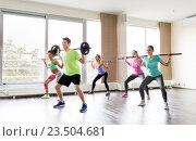 Купить «happy people exercising with barbell bars in gym», фото № 23504681, снято 5 апреля 2015 г. (c) Syda Productions / Фотобанк Лори