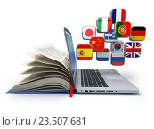 Купить «E-learning or online translator concept. Learning languages online. Laptop, book and flags.», фото № 23507681, снято 23 октября 2018 г. (c) Maksym Yemelyanov / Фотобанк Лори