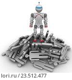 Купить «Робот-победитель на куче поверженных людей», иллюстрация № 23512477 (c) WalDeMarus / Фотобанк Лори