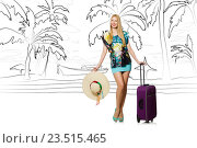 Купить «Young woman travelling tropical island in travel concept», фото № 23515465, снято 20 июля 2019 г. (c) Elnur / Фотобанк Лори