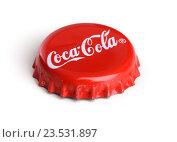 Купить «Красная крышка с надписью Coca-Cola на белом фоне», фото № 23531897, снято 8 сентября 2016 г. (c) Александр Лычагин / Фотобанк Лори