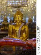 Купить «Золотая статуя Будды в Зеркальном храме, провинция Утхайтхани, Таиланд. Wat Tha Sung or Wat Chantharam», фото № 23532381, снято 31 августа 2016 г. (c) Natalya Sidorova / Фотобанк Лори