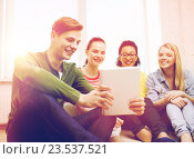 Купить «smiling students making picture with tablet pc», фото № 23537521, снято 29 марта 2014 г. (c) Syda Productions / Фотобанк Лори