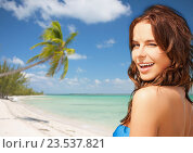 Купить «happy beautiful woman on tropical beach», фото № 23537821, снято 21 июля 2012 г. (c) Syda Productions / Фотобанк Лори