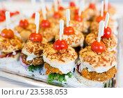 Купить «close up of canape hamburgers on serving tray», фото № 23538053, снято 11 июня 2016 г. (c) Syda Productions / Фотобанк Лори