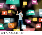 Купить «happy man in virtual reality headset or 3d glasses», фото № 23538189, снято 11 мая 2016 г. (c) Syda Productions / Фотобанк Лори