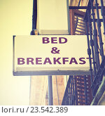 Купить «Bed and breakfast sign», фото № 23542389, снято 3 сентября 2016 г. (c) Роман Сигаев / Фотобанк Лори