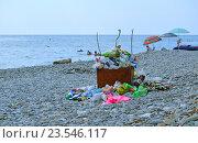 Купить «Мусор на галечном пляже на берегу Черного моря», эксклюзивное фото № 23546117, снято 18 августа 2015 г. (c) Александр Замараев / Фотобанк Лори
