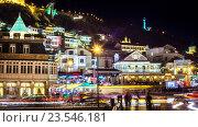 Ночной пейзаж старого города Тбилиси, Республика Грузия. Стоковое фото, фотограф Koba Samurkasov / Фотобанк Лори