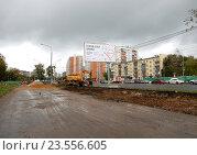 Купить «Работы по расширению и благоустройству Щелковского шоссе в Москве», эксклюзивное фото № 23556605, снято 16 сентября 2016 г. (c) lana1501 / Фотобанк Лори