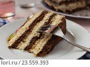 Купить «Кусок торта крупным планом», фото № 23559393, снято 12 сентября 2016 г. (c) Сергей Вольченко / Фотобанк Лори