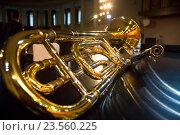 Купить «Тромбон - духовой медный оркестровый музыкальный инструмент лежит на рояле на сцене концертного зала», фото № 23560225, снято 20 сентября 2016 г. (c) Николай Винокуров / Фотобанк Лори