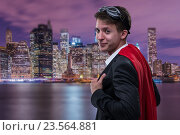 Купить «Man with red cover in super hero concept», фото № 23564881, снято 23 января 2019 г. (c) Elnur / Фотобанк Лори