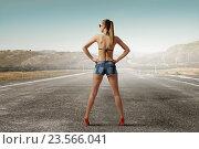 Купить «Hitch hiker woman on road . Mixed media», фото № 23566041, снято 17 марта 2014 г. (c) Sergey Nivens / Фотобанк Лори