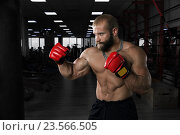 Купить «Боксер в тренажерном зале», фото № 23566505, снято 22 августа 2016 г. (c) Restyler Viacheslav / Фотобанк Лори