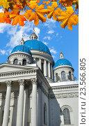 Купить «Свято-Троицкий Измайловский собор в обрамлении осенних листьев в Санкт-Петербурге Россия - осенний пейзаж», фото № 23566805, снято 16 июня 2019 г. (c) Зезелина Марина / Фотобанк Лори