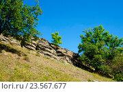 Купить «Скальная гряда на фоне флоры», фото № 23567677, снято 10 сентября 2016 г. (c) Игорь Кутателадзе / Фотобанк Лори