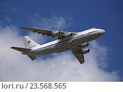 Купить «Тяжелый дальний военно-транспортный самолет Ан-124-100 «Руслан» (Бортовой номер RF-82038) в небе», эксклюзивное фото № 23568565, снято 7 мая 2016 г. (c) Алексей Гусев / Фотобанк Лори