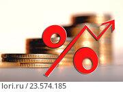 Купить «Красный знак процента на фоне денег», фото № 23574185, снято 24 апреля 2016 г. (c) Сергеев Валерий / Фотобанк Лори