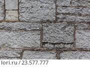 Купить «close up of old brick or stone wall background», фото № 23577777, снято 27 июня 2016 г. (c) Syda Productions / Фотобанк Лори