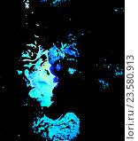 Абстрактный портрет в синих тонах на черном фоне. Стоковая иллюстрация, иллюстратор vladimir vershvovski (Владимир Вершвовский) / Фотобанк Лори