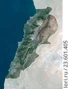 Купить «Satellite view of Lebanon (with country boundaries and mask). This image was compiled from data acquired by Landsat 8 satellite in 2014.», фото № 23601405, снято 22 июля 2019 г. (c) age Fotostock / Фотобанк Лори