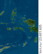 Купить «Satellite view of the Maluku Islands, Indonesia. This image was compiled from data acquired by Landsat satellites.», фото № 23601605, снято 22 июля 2019 г. (c) age Fotostock / Фотобанк Лори