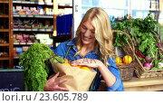 Купить «Portrait of smiling woman holding a grocery bag in organic section», видеоролик № 23605789, снято 22 июля 2018 г. (c) Wavebreak Media / Фотобанк Лори